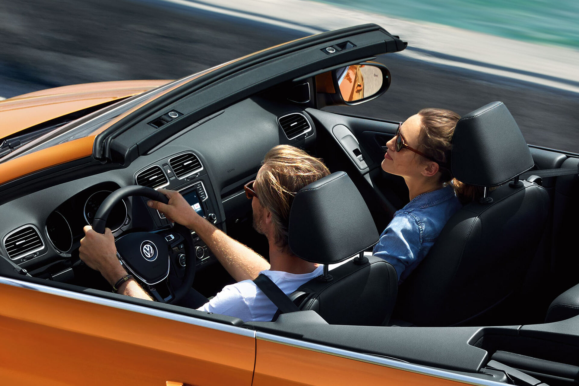 vw golf cabriolet orange oben