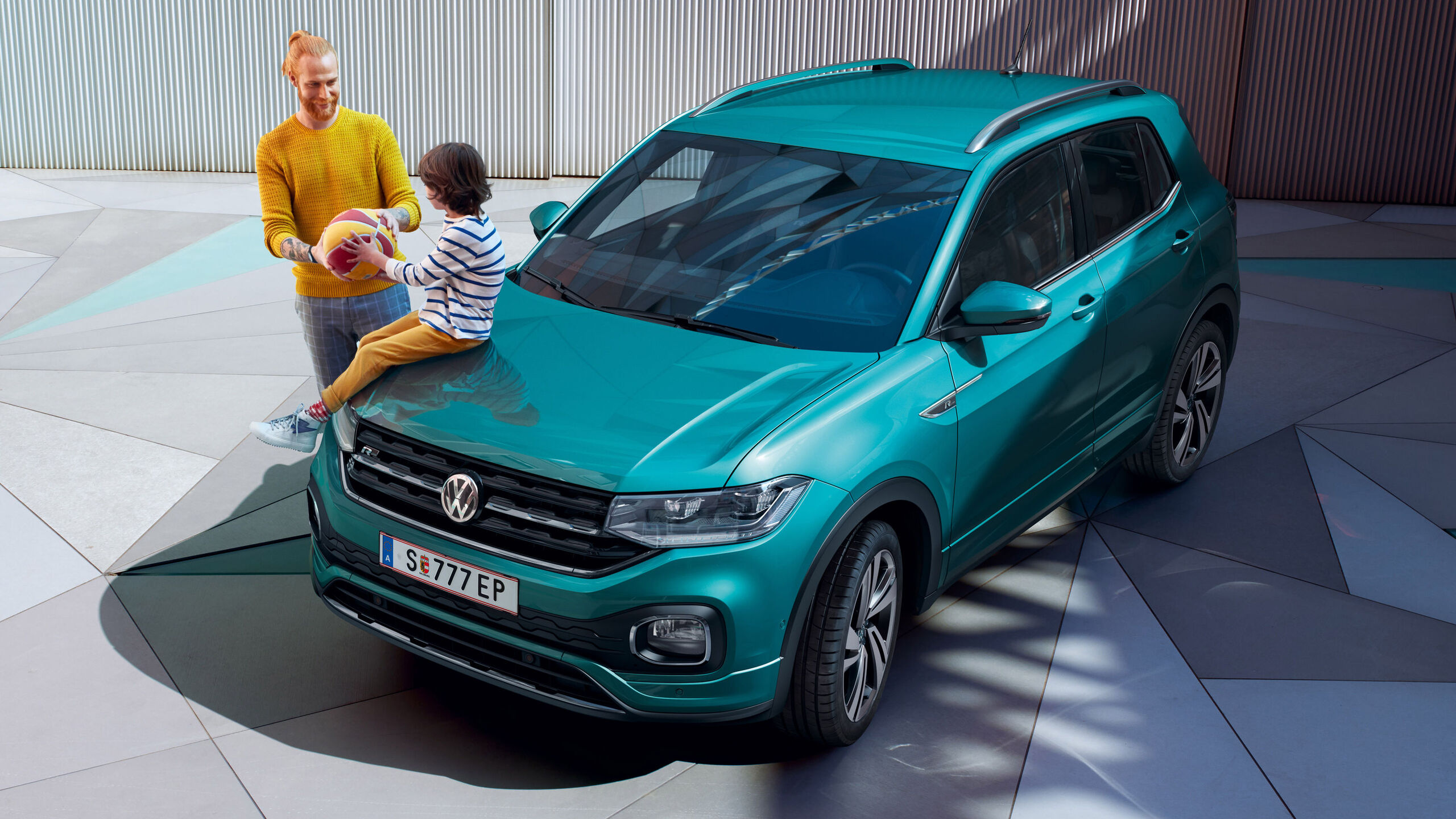 vw t-cross blau