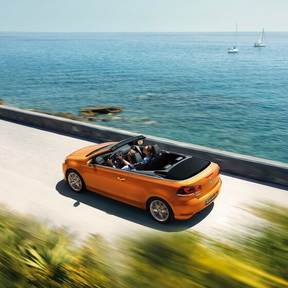 vw volkswagen golf cabriolet oben orange meer